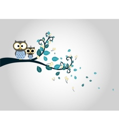 Two cute owls on a tree branch silhouette vector image