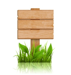 Wooden signpost with grass and reflection on white vector
