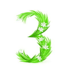Grass letters number 3 vector