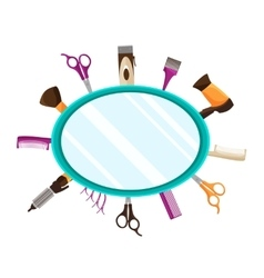 Hairdressing tools flat mirror background vector