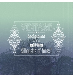 Vintage forest background with tribal style frame vector image