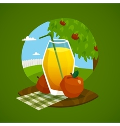 Glass of juice with rural landscape background vector