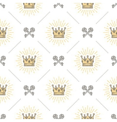 Seamless background with crown and keys vector image