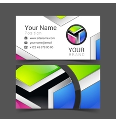 Abstract bright business card banner design vector