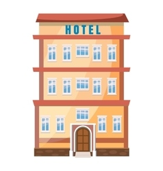 Hotel building icon in cartoon style vector