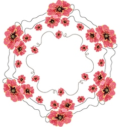 Wreath of red poppies vector