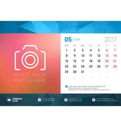 Desk calendar template for 2017 year may design vector