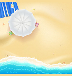 Beach sand sea waves and sun umbrella vector