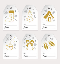 A set of six christmas or new year gift tags with vector