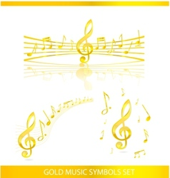 abstract music symbols set gold color vector image vector image