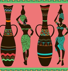African seamless pattern of girls and vases vector