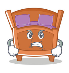 Angry cute bed character cartoon vector