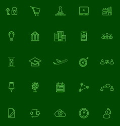 Business connection green line icons vector image
