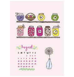 calendar of august 2018 the shelves vector image vector image