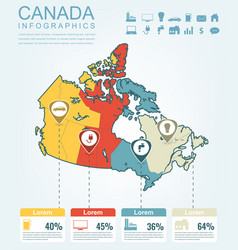canada map with infographic elements infographics vector image vector image
