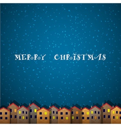 Christmas card with houses vector
