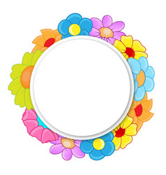 Circle banner with flowers vector