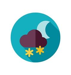 Cloud snow moon flat icon meteorology weather vector