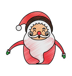 Color pencil cartoon half body fat santa claus vector