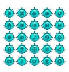 Cute cartoon blue buttons set vector
