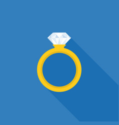 Diamond wedding ring icon vector