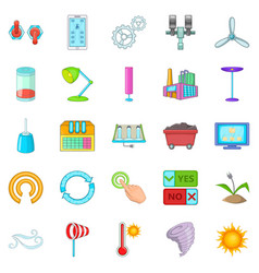 Earth energy icons set cartoon style vector