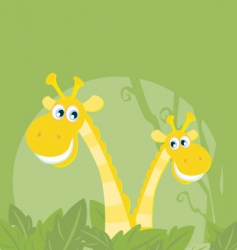 funny animals jungle giraffe family vector image