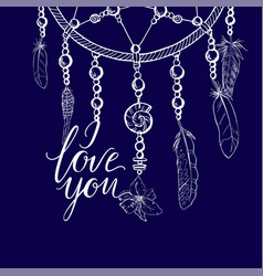 hand drawn ornate dreamcatcher in a contour vector image