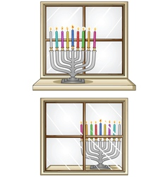 Hanukkiah on a window vector