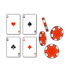 Heart spade clubs diamond ace playing cards and vector