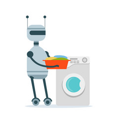 Housemaid android character washing clothes in the vector