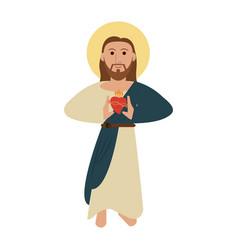 Jesuschrist sacred heart cartoon vector