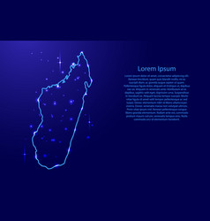 Map madagascar from the contours network blue vector
