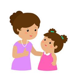 Mother admire daughter character cartoon vector