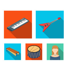 Musical instrument flat icons in set collection vector