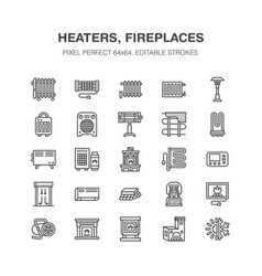 Oil heater fireplace con panel column vector