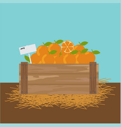 Orange in a wooden crate vector