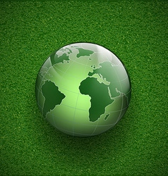 Planet earth on the grass vector image