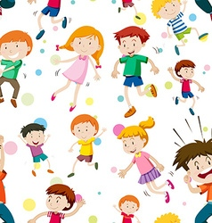 Seamless background with happy children vector