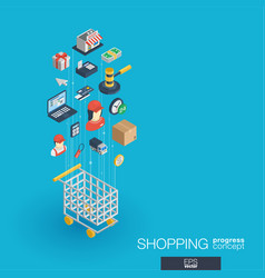 shopping integrated 3d web icons growth and vector image vector image