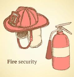 Sketch fire helmet and extinguisher in vintage vector