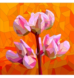 Stained glass with lupine flowers vector