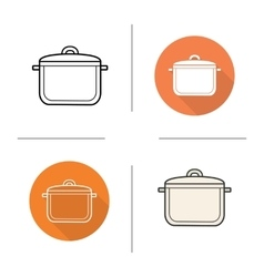 Stew pot flat design linear and color icons set vector image vector image