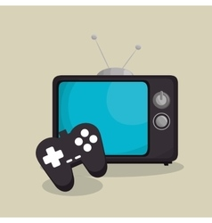 Tv retro with game control isolated icon vector