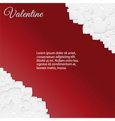 Valentine card with white hearts corners vector image