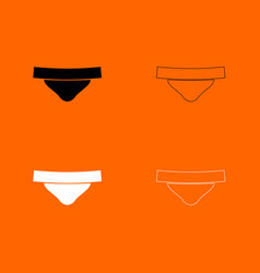 Womens panties black and white set icon vector