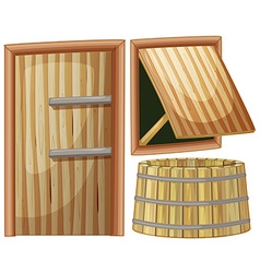 Wooden door and window vector image vector image