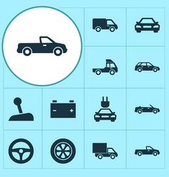 automobile icons set collection of van truck vector image