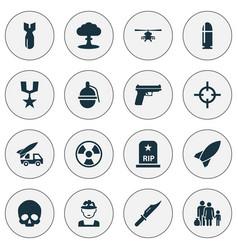 army icons set collection of ordnance slug vector image