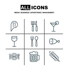 Set of 9 food icons includes eating house vector